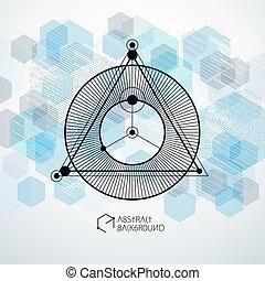 moderne, avenir, être, composition, gabarit, boîte, plan., industriel, technique, bleu, layout., fond, ingénierie, utilisé, vecteur, géométrique