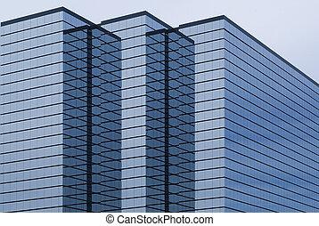 moderne, bâtiment bureau, à, verre, extérieur