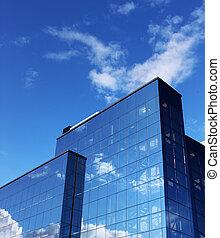 moderne, bâtiment bureau, bleu