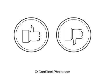 moderne, banieren, duimen, omlaag., infographics., web beelden, set., vrijstaand, achtergrond., witte , communie, materialen, plaatzen, bedrukt, lijn, afkeer, grafisch, zoals, op, mager, ronde