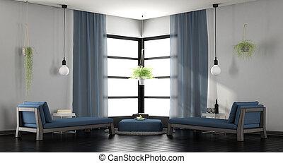 moderne, blanc bleu, salon