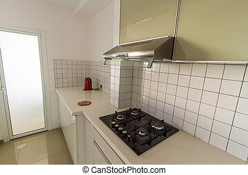 moderne, blanc, cuisine, .