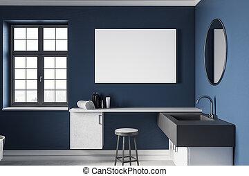 moderne, blauwe , badkamer, met, lege, buitenreclame