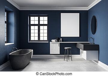 moderne, blauwe , badkamer, met, lege, poster