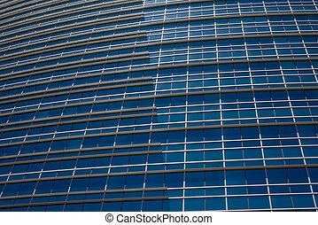 moderne, bleu, bâtiment bureau