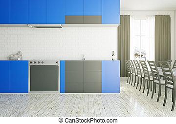 moderne, bleu, cuisine, intérieur