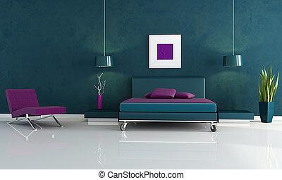 moderne, bleu, et, pourpre, chambre à coucher