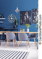 moderne, bleu, salle manger, intérieur