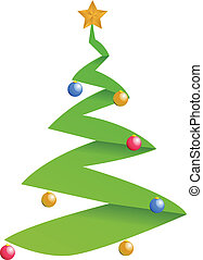 moderne, boompje, kerstmis, illustratie
