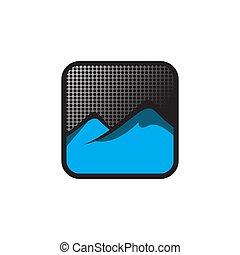 moderne, bouton, vecteur, illustration, logo, conception, montagne, symbole