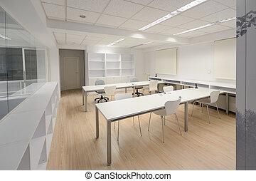 moderne, bureau, à, blanc, meubles