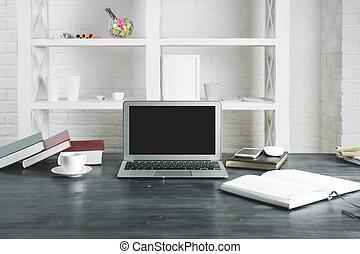 moderne, bureau, bureau, à, vide, ordinateur portable, écran