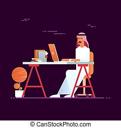 moderne, bureau, business, ordinateur portable, musulman, arabe, entrepreneur, informatique, utilisation, homme