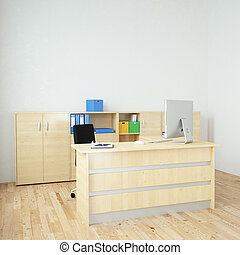 moderne, bureau, carrée