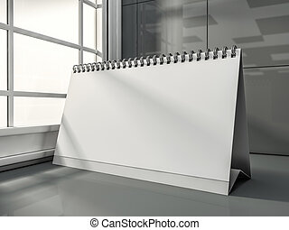 moderne, bureau, intérieur, vide, calendrier,  3D
