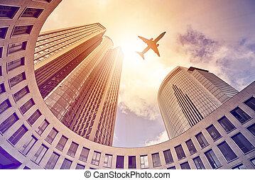 moderne, bureau, tours, sur, voler, avion