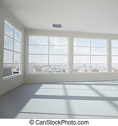 moderne, bureau vide, salle