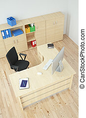 moderne, bureau, vue dessus