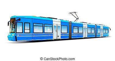 moderne, byen, tram, isoleret, på hvide