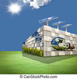 moderne bygge, på, grønnes felt