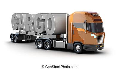 moderne, camion, à, cargaison, mot