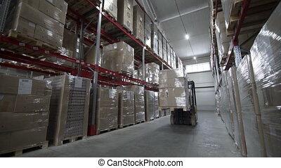 moderne, camions, décharger, élévateur, boîtes, palettes, entrepôt, carton