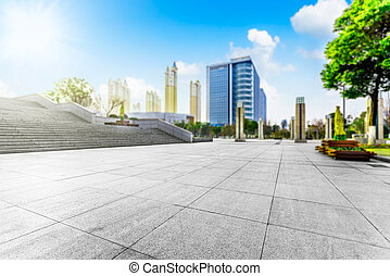 moderne, carrée, à, horizon, et, cityscape, fond