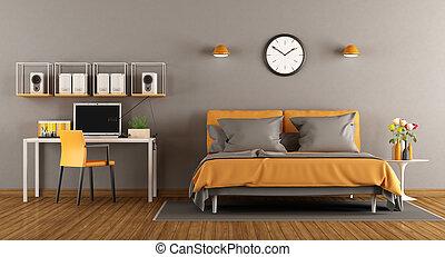 Bureau bois moderne lit chambre à coucher petit élégant