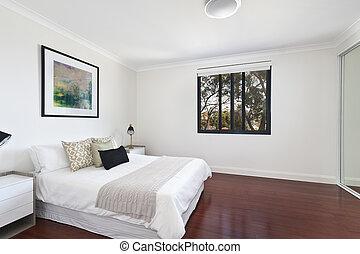 moderne, chambre à coucher, intérieur