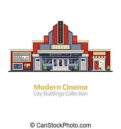 moderne, cinéma, bâtiment extérieur