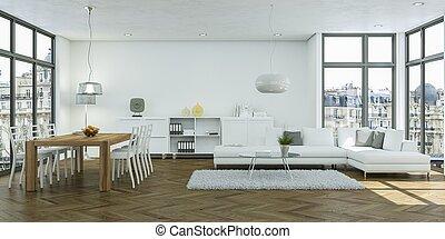 moderne, clair, salle manger, skandinavian, conception intérieur