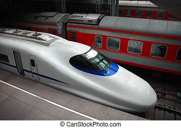 moderne, classique, intérieur, train express, trains, station