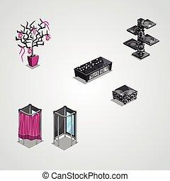 moderne, collection, meubles