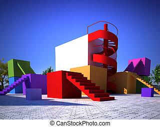 moderne, coloré, construit, structure