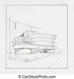 moderne, commercieel, centrum