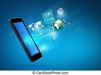 moderne, communicatie, technologie, mobiele telefoon