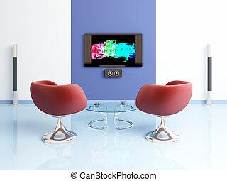 moderne, composition., intérieur