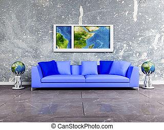 Bleu ottomans salle s jour moderne partie bleu for Salle de sejour bleu
