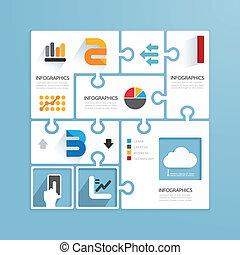 moderne, conception, minimal, style, infographic, papier, puzzle, template.can, être, utilisé, pour, infographics, .graphic, ou, site web, disposition, vecteur