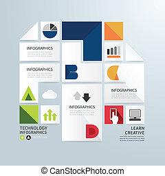 moderne, conception, minimal, style, infographic, papier, template.can, être, utilisé, pour, infographics, .graphic, ou, site web, disposition, vecteur