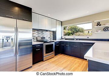 moderne, conception, salle, cuisine