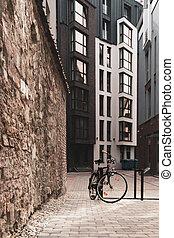 moderne, cour, stands, élégant, hotel., vélo