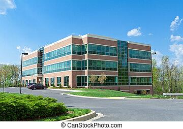 moderne, cube, bâtiment bureau, stationnement, suburbain, md