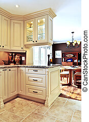moderne, cuisine, et, salle manger, intérieur