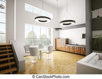 moderne, cuisine, intérieur, 3d