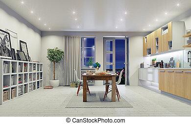moderne, cuisine, intérieur