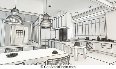 moderne, cuisine, projet, wireframe