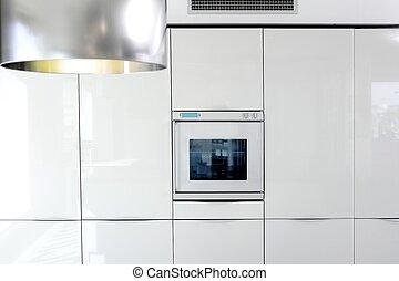 moderne, détail, architecture, four, blanc, cuisine