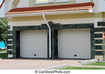 moderne, dør garage, by, 2, cars.