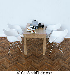 moderne, dans, blanc, contemporain, interior., 3d, render
